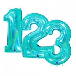 Tiffany Blue Number Foil Balloon
